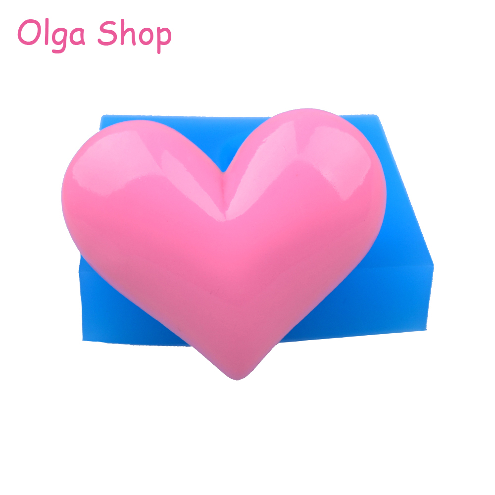 PYL547 57.3mm Large Heart Silicone Mold - Fondant Cake Decorating Sugarcraft Cookie, Resin Soap Polymer Clay Flexible Mould