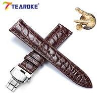 TEAROKE Chính Hãng Crocodile Da Watchband 12-24 mét Bướm Khóa Màu Đen Nâu Sang Trọng Ban Nhạc Thay Thế Strap Xem Ph