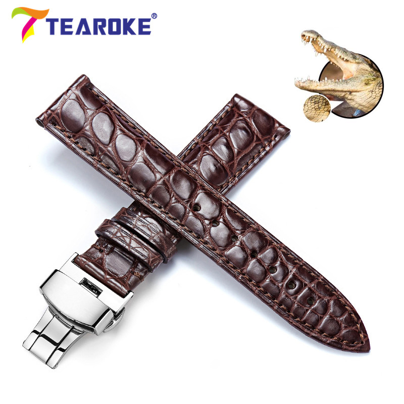 TEAROKE Genuine Crocodile Leather Watchband 12-24mm Butterfly Buckle Black Brown Luxury Replacement Band Strap Watch Accessories zlimsn genuine leather watchband 18mm 20mm black brown watch band strap single push butterfly buckle clasp relojes hombre 2017