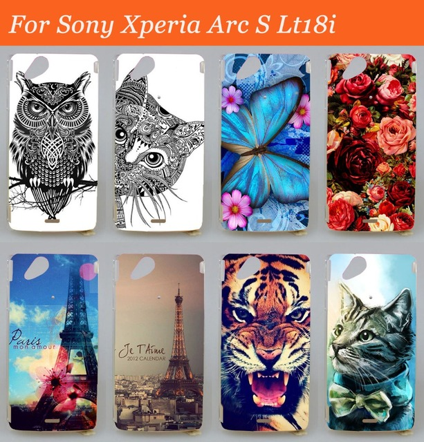 Hard Back Phone Case For Sony Ericsson Xperia Arc S X12 lt15i Lt18i painted flower cool animal high quality Back Cover