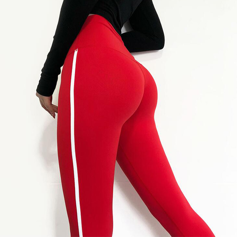 High Waisted Red Moto Fitness Yoga Pants for Women Big Booty Gym Leggings Sports Running Workout Pants Compression Sport Tights 4