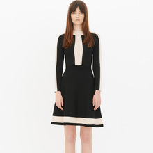 2017 Classical Runway Spring Sutumn Vintage Patchwork Hollow Out Knee-length Black Spring Dresses D002