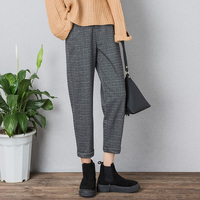 Plaid High Waist Loose Women Ankle Length Pants Autumn Winter Casual High Quality Plus Size Girl