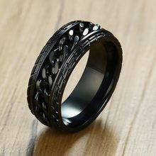 Punk Wheel Tire Spinner Mens Chain Rings Stainless Steel Black Color Biker Hip Hop Bague Male Accessories(China)