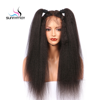 Sunnymay 13x4 Lace Front Wigs Women Glueless Kinky Straight Remy 130% Lace Front Human Hair Wigs with Baby Hair Bleached Knots