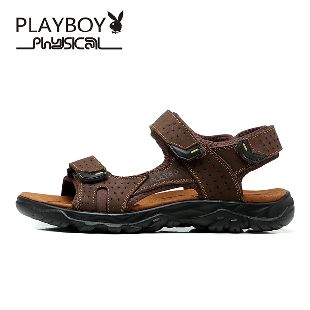 ed4d348c0442a0 PLAYBOY 2016 Summer New Brand Men s Sandals Designer Genuine Leather Mens  Cowhide Slippers Fashion Man Beach