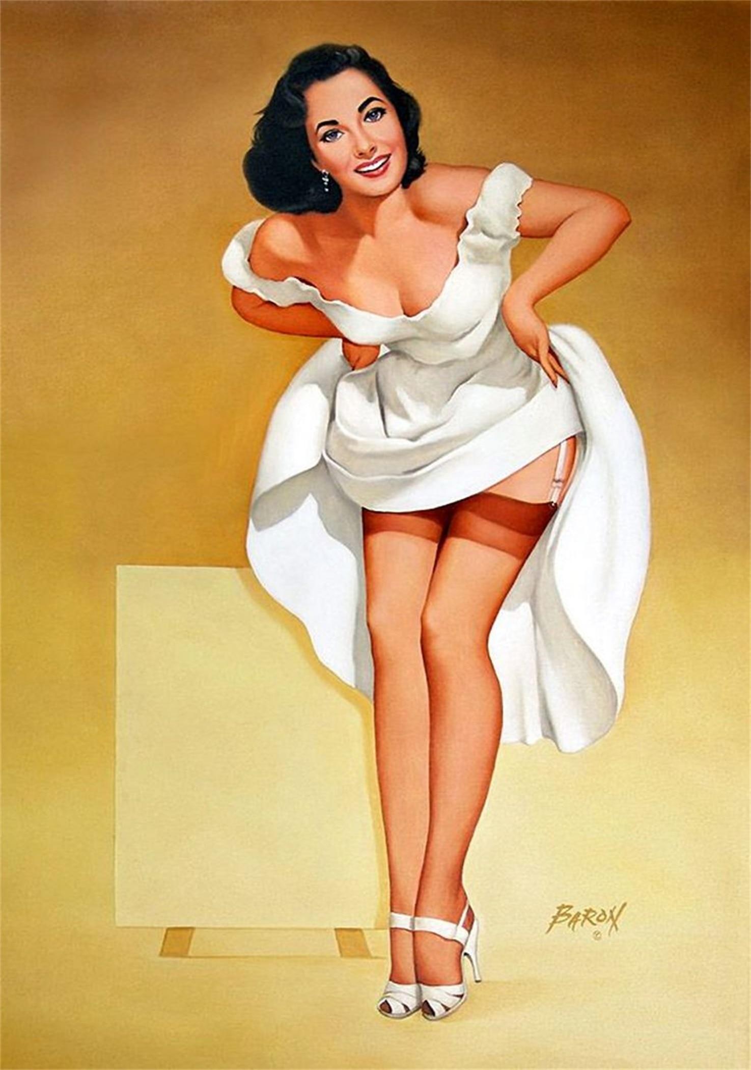Pop Art Sexy Fishing Vintage Pin up Girl Poster Classic Retro Kraft ...