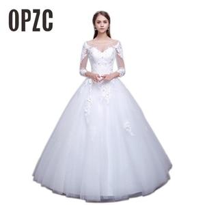 Image 1 - Luxury Sexy Real Photo Princess Elegant Wedding Dresses 2020 New Three Quarter Sleeve Lace Flower Bridal Gowns Vestidos De Noiva
