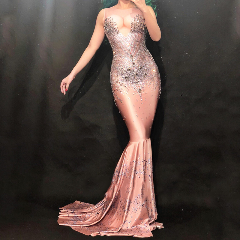 Bodysuit Sexy Diamond Package Hips Fishtail Dress Adult Costumes Birthday Outfit Bar Dj Nightclub DS Singer Jazz Costumes DN2010-in Chinese Folk Dance from Novelty & Special Use    1