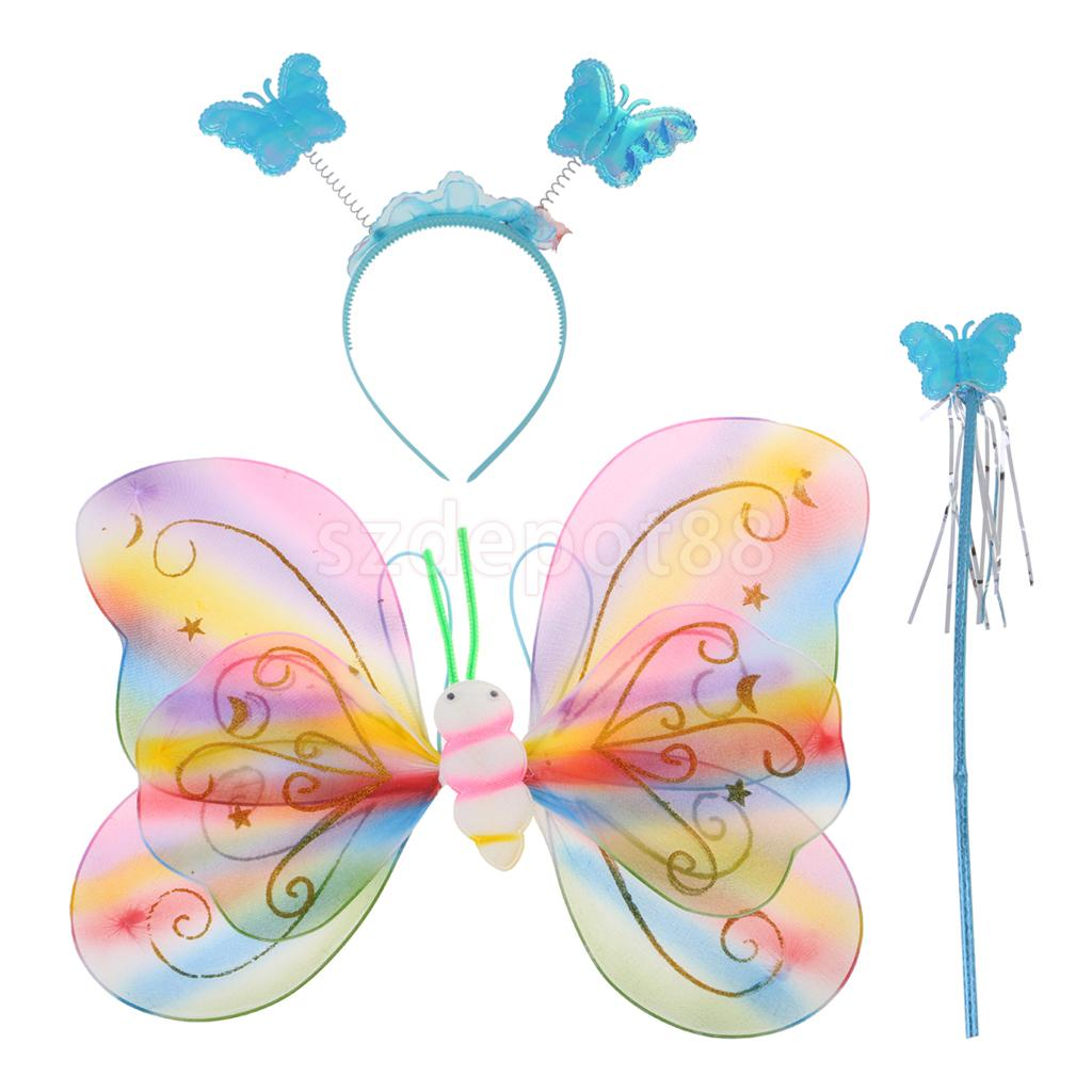 Kids Butterfly Wings Fairy Wand Headband Birthday Party Costume Fancy Dress