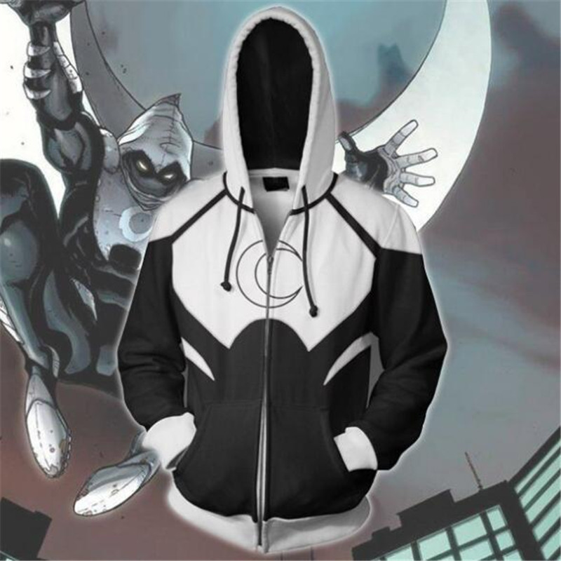 Marvel Anime Moon Knight with the same paragraph zipper hoodie Cosplay hoodie sweater men and women sweater 2019 brand new