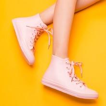 Zapatos de las mujeres señoras de la manera rainboots bota con cordones respirable pisos a prueba de agua de calidad botines tamaño 35-41 g01