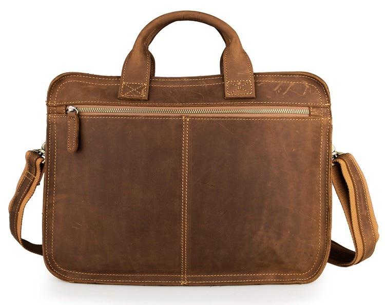 J.M.D Crazy Horse Leather Men's Briefcase Laptop Handbag In Messenger Bag Document Leather Bag 6020B