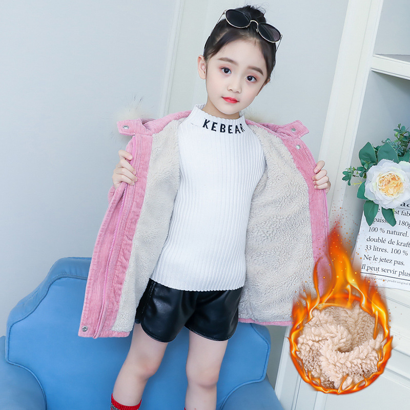 Girls Parkas 2019 New Plus Velvet Thicken Corduroy Cotton padded Jacket Hooded Warm Casual Solid Winter