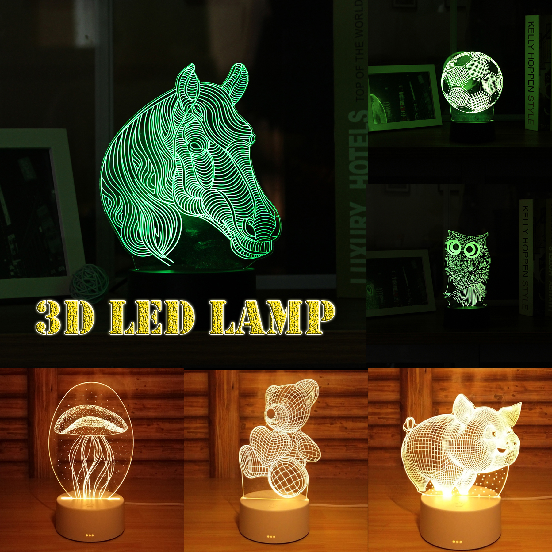 3D Night Light Pattern Acrylic Panel LED Touch Switch Table Lamp Acrylic Board Protection Eyes Colorful Lamp For Children Gift colorful boxes pattern 3d stair stickers