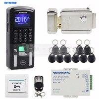 Diysecur отпечатков пальцев 125 кГц RFID считыватель Пароль Клавиатура + Электрический замок двери Система контроля доступа комплект для офиса/дом