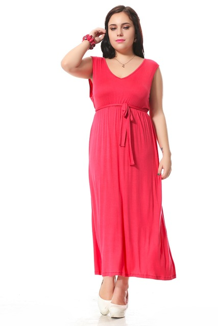 Plus Size Evening Party Dress With Sashes Decoration Sexy V Neck