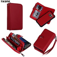 5 Colors Multi Function Zip Wallet Leather Case For Samsung Galaxy S7 2in1 Removable Card Holder