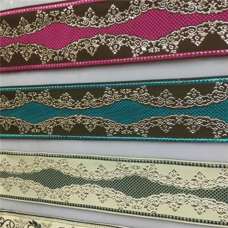 25 M/Lot 6 cm largeur Jacquard ceinture ethnique dentelle rideau décor tissu fleur Laciness dentelle nationale ruban bricolage sangle Textile à la maison