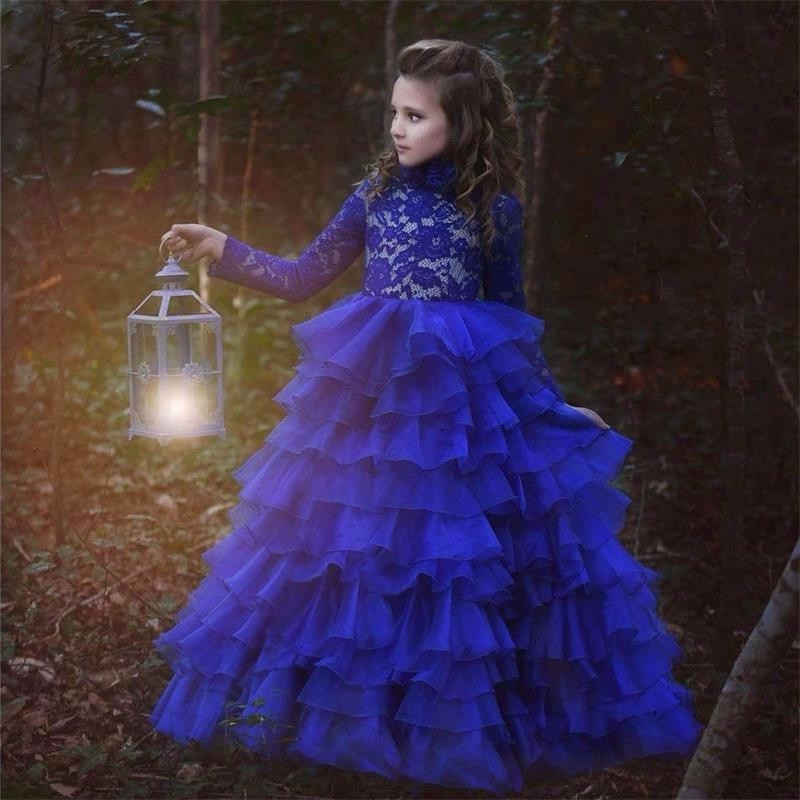 Royal Blue Ball Gown Flower Girl Dresses Long Sleeve Scoop Neck Little Girl Wedding Ruched Mother Daughter Dresses for Girls sexy scoop neck long sleeve flower pattern see through dress for women
