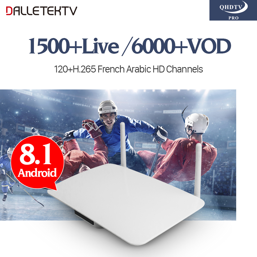 Arabic French IPTV Subscription QHDTV PRO Code 1 Year Android 8.1 Smart TV Box IPTV Europe Belgium French Arabic IPTV Box