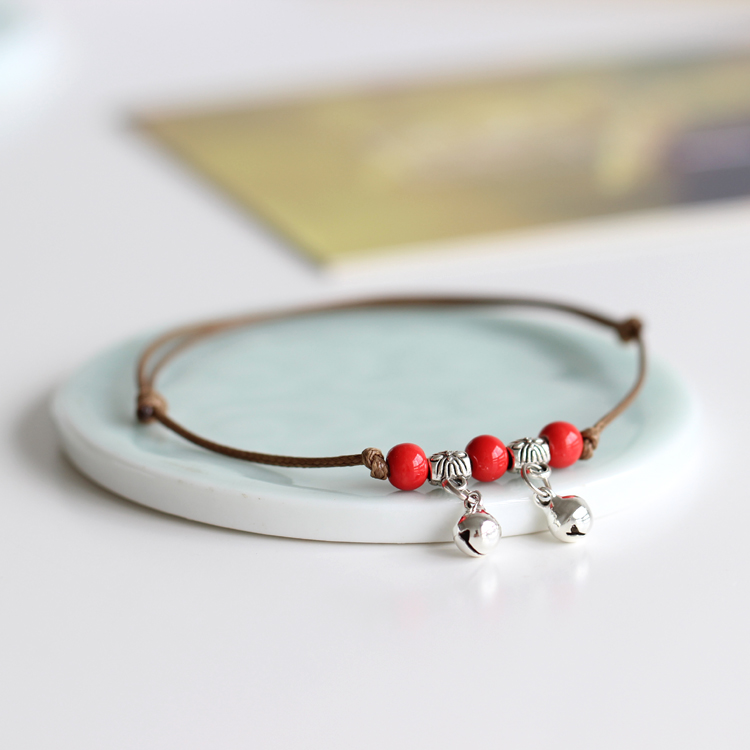 Spring Ceramic Jewelry Diy Knitted Handmade Anklets Boho Style For Woman Girl Accessories Red Yellow Blue Beads Bell Anklets
