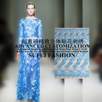 120cm wide sky blue floral embroideried appique polyester net lace wedding dress cheongsam fabric S175