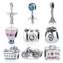 Новинка, 925 пробы, серебряный шарм, бисер, самолет, камера для путешествий, Эйфелева башня, бусины, подходят к оригинальному браслету Pandora, шарм, сделай сам, ювелирное изделие, подарок