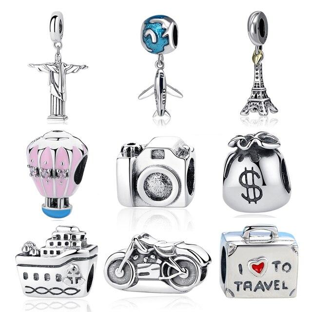 Новинка, 925 пробы, серебряный шарм, бисер, самолет, камера для путешествий, Эйфелева башня, бусины, подходят к оригинальному браслету Pandora, шар...