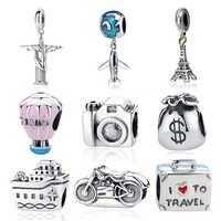 Nuevo 925 Plata de Ley encanto cuenta avión viaje Cámara Torre Eiffel cuentas ajuste Original pulsera Pandora encanto DIY joyería regalo