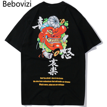 Bebovizi 2019 Hip Hop Japan Style T Shirt Streetwear Men Oversized T-Shirt Summer Fashion Hipster Tshirt Short Sleeve Tops Tees