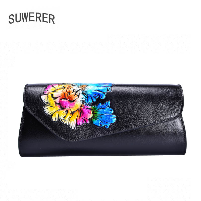 SUWERER New Cowhide Women Genuine Leather bags women clutch bag fashion luxury Crocodile pattern women leather shoulder bag