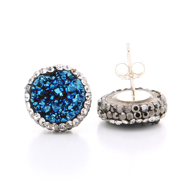 Gem Stone Stud Earrings For Women