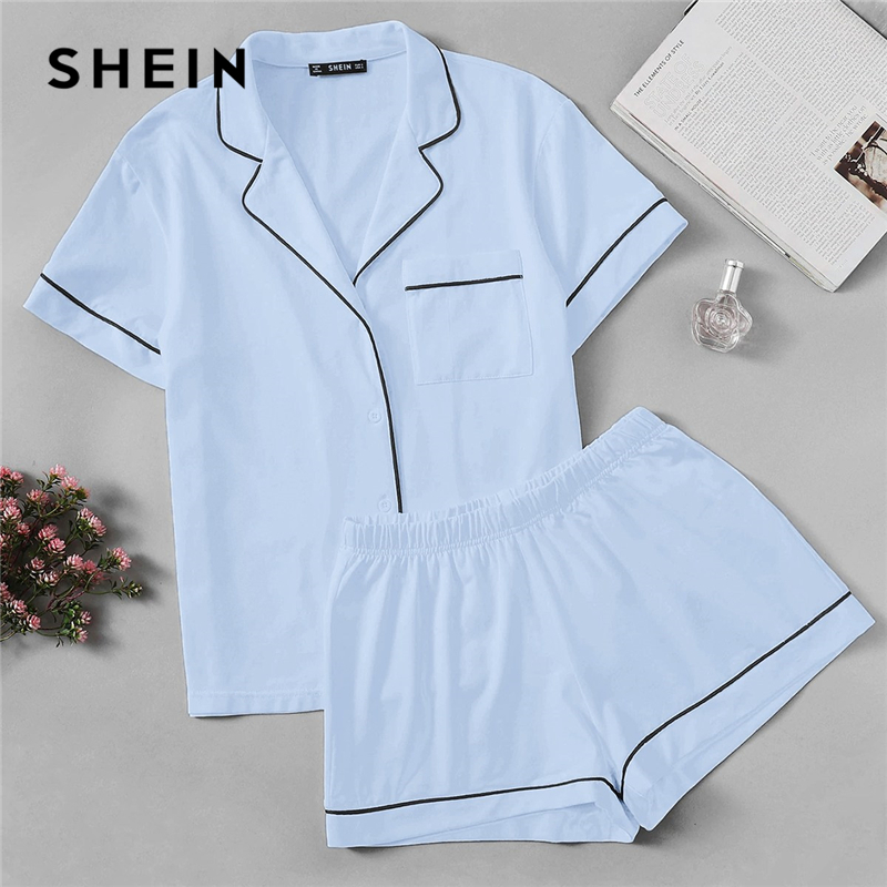 SHEIN Blue Contrast Piping Pocket Front Shirt and Shorts PJ   Set   Women Summer Solid Short Sleeve Elegant Sleepwear   Pajama     Sets