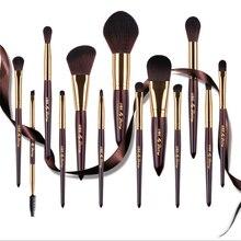 Wysokiej klasy 13 sztuk pędzle do makijażu zestaw Powder Foundation szczotki cień do powiek pędzel do ust płaska szczotka fundamentowa moda zestaw kosmetyków