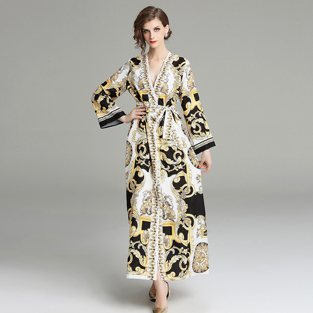 4ed0b0a1d0ee 2019 Spring Designers Runway Maxi Dress Long Sleeve Women V Neck Lace Up  Loose Baroque Print Vintage Vacation Dress Autumn Dress