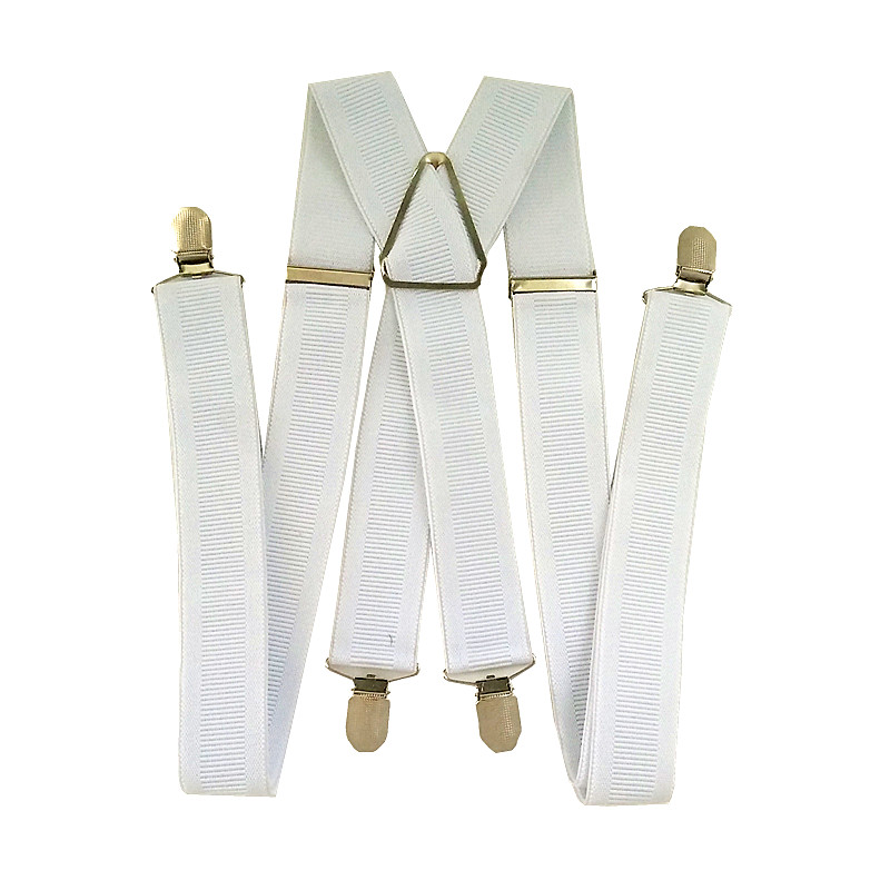 BD067- Bright White Rib Color Suspenders For Men Women New Arrival 3.5 Width X Back Adult Suspender