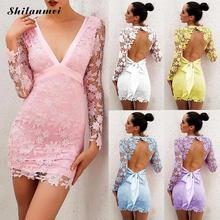 Bodycon Dress Women Sexy Lace Sheath Dresses V Neck Hollow Floral Elegant Lace Up Backless Party Vestidos Yellow White Short lace up sheath dress