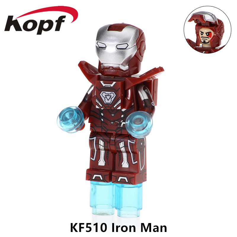 KF510 Single Sale Super Heroes Building Blocks Iron Man Mk-1 Spiderman Antman Batman Model Bricks Figures For Children Gift Toys