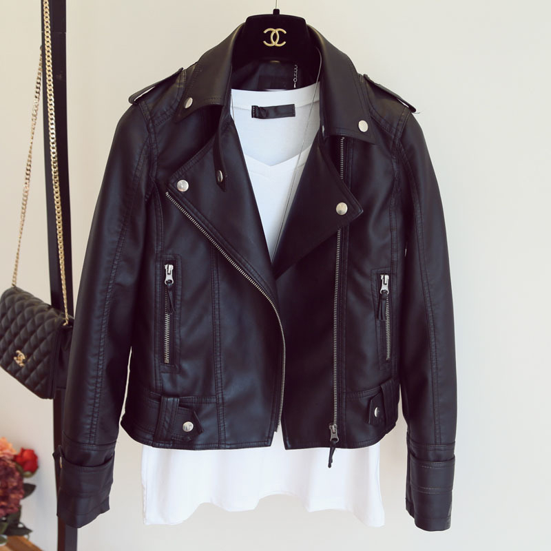 Women Autumn   Leather   Jacket Moto Biker Motocycle Female Outwear Classical Faux   Leather   Coat Black Turn-down Collar