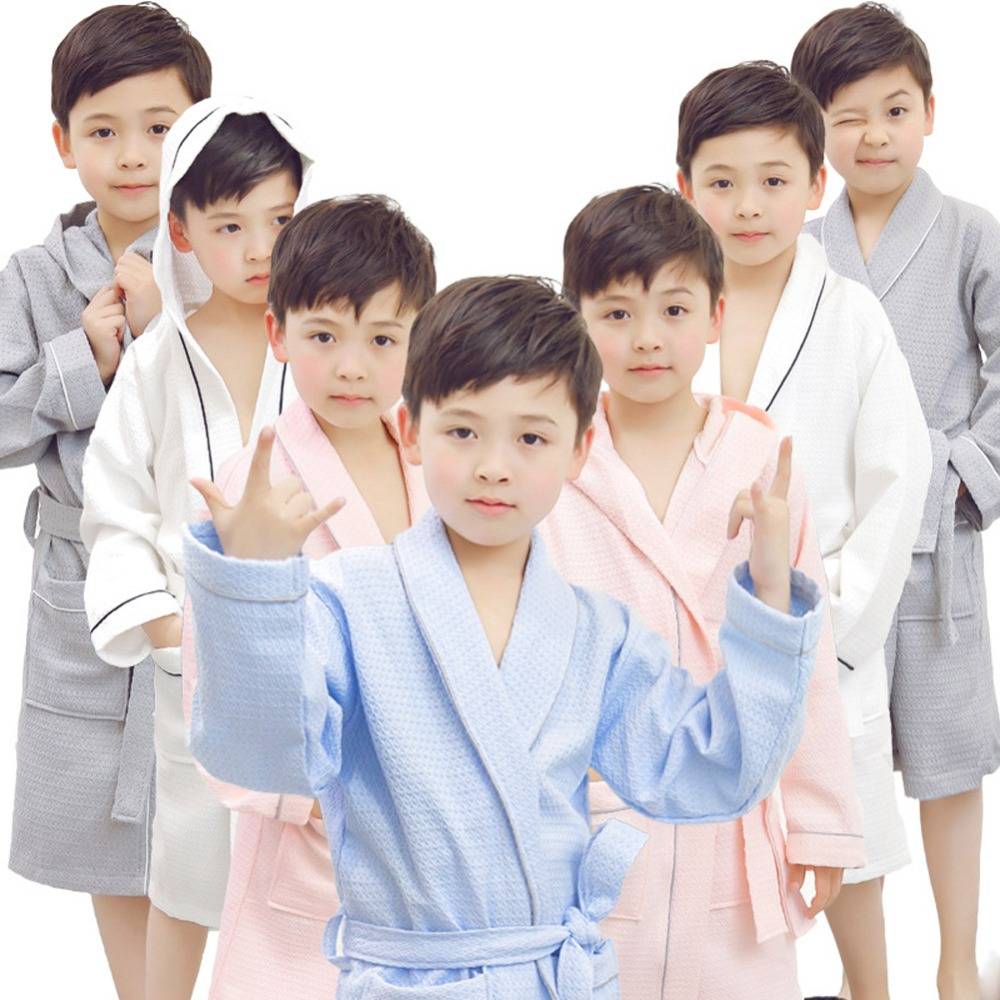 New Children Lapel Bathrobe Kids Boys Girls Cotton Lovely Bath Robes Dressing Gown Kids  ...