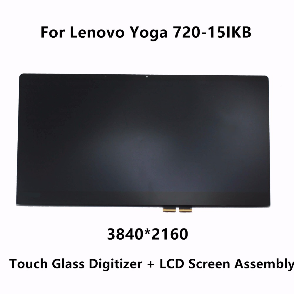 Original LCD Screen Display Panel Touch Glass Digitizer Assembly Replacement For Lenovo Yoga 720 15IKB 80X7001TUS UHD 3840X2160 10 1 lcd touch tablet screen digitizer glass display assembly replacement pocketbook for lenovo yoga tablet 2 1050 1050l 1050f
