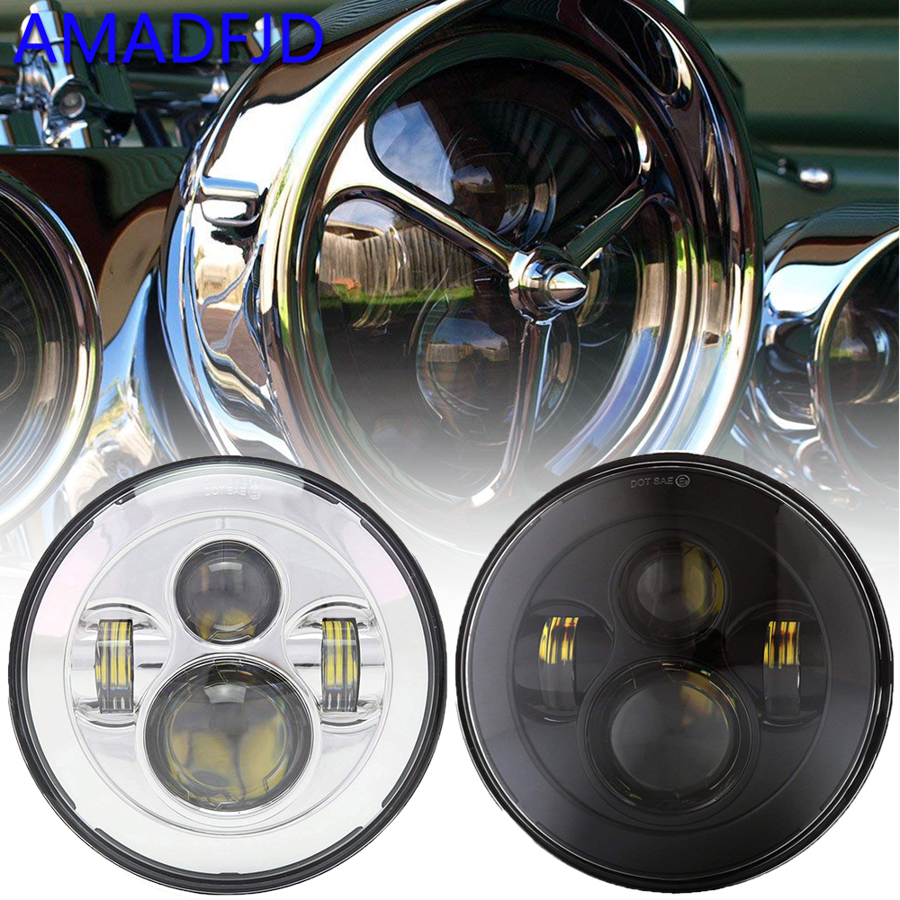 AMADFJD 7inch H4 H13 Led Motorcycle Headlight For Harley Motorcycle Projector Daymaker LED Lamp For Sportster 1200 883 7 led headlight for harley davidson motorcycle projector daymaker led bulb projector h4 h13 motorcycle headlight