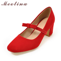 Meotina Women Party Shoes Bow Ladies Dress Shoes Casual Block Heels Sweet Red Pumps 2017 Design