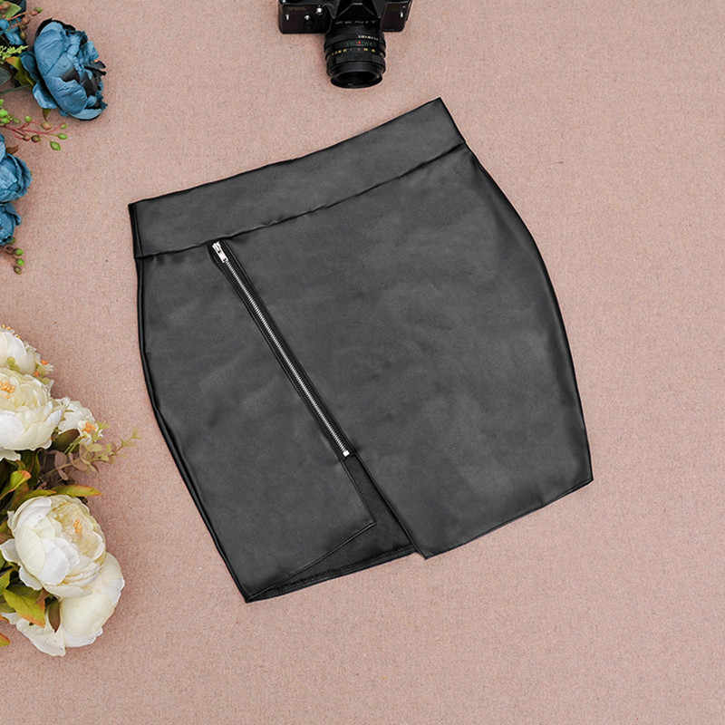 Top Quality PU Leather Sexy Women Bodycon Skirt Mini Short Skirt Black Zipper Style Design Saias Faldas Apparel Jupe MZ1335