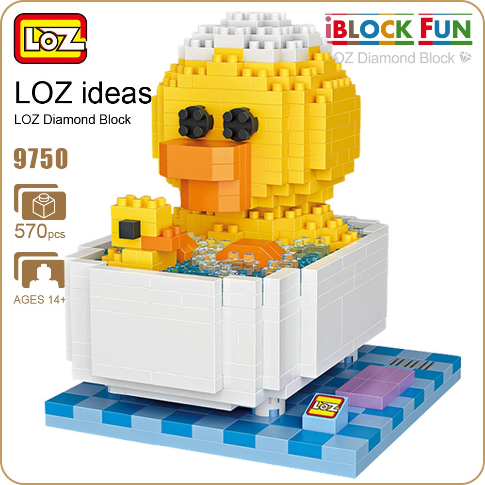 LOZ Diamond Blocks Friends Bathtub Children Educational Toys For Children Funny Micro Bricks Toys Building Duck Animal DIY 9750 loz diamond blocks dans blocks iblock fun building bricks movie alien figure action toys for children assembly model 9461 9462