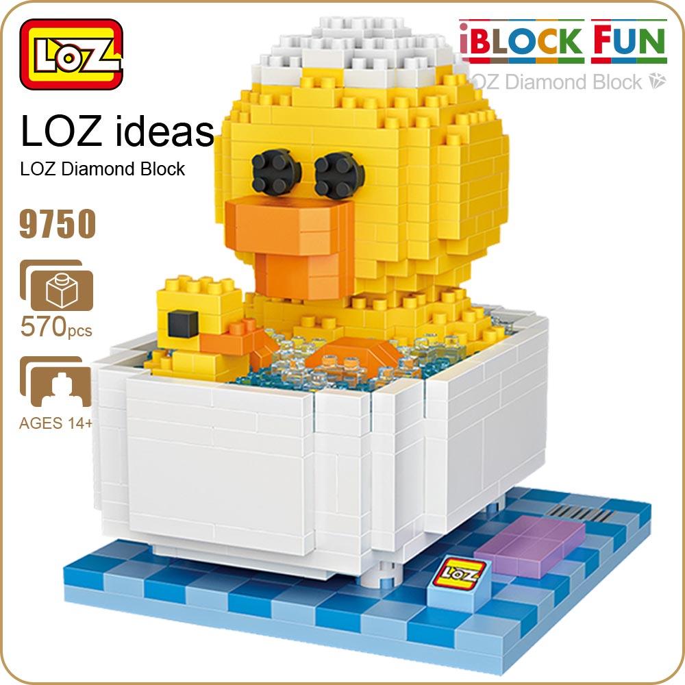 LOZ Diamond Blocks Friends Bathtub Children Educational Toys For Children Funny Micro Bricks Toys Building Duck Animal DIY 9750