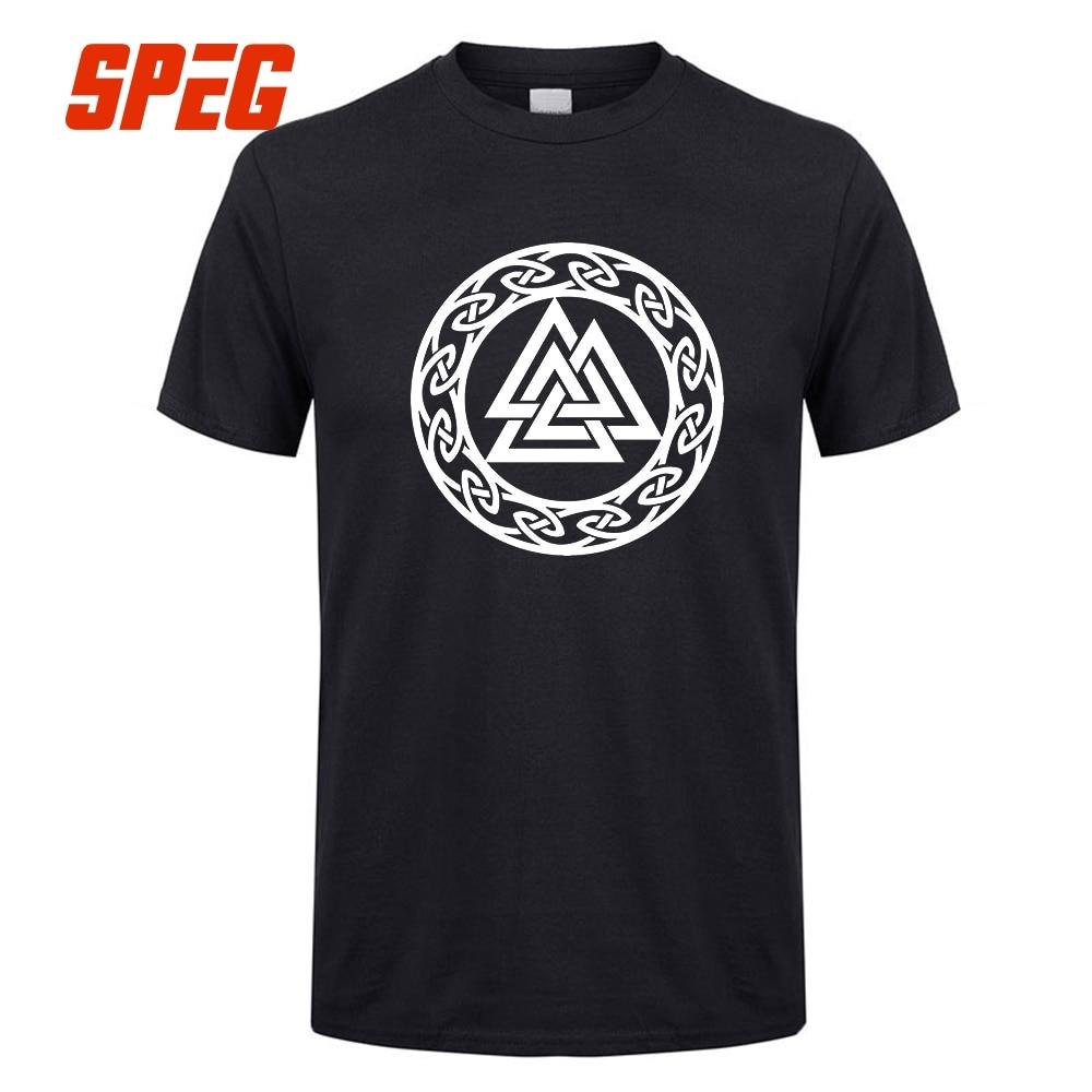 Valknut Wotan's Knot Runes Odin T Shirts Kontrast Men Wotan Mit Uns Vikings Tops Short Sleeve O Neck Tees Tshirt Cotton Casual