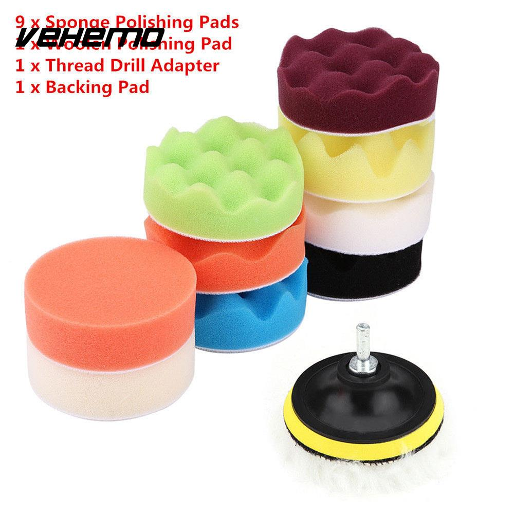 3inch Portable Durable Car Buffing Sponge Cleaning Tools Pad Kit Polisher Buffer Wheel K ...