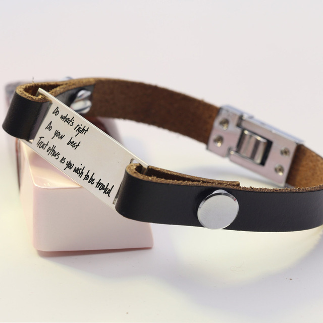 Customized Personalized Bracelet Men Leather Silver Pendant Statement Bangles